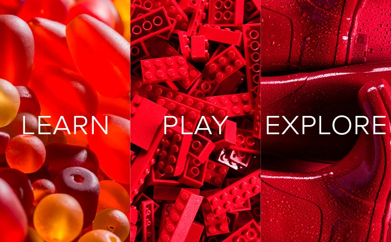 Image of red jelly candy, red legos, and red rain boots with Learn, Play, Explore in white text